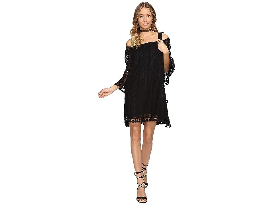 Jack by BB Dakota Denney Embroidered Off Shoulder Dress (Black) Women
