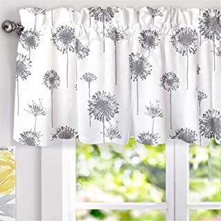 DriftAway Dandelion Floral Botanical Lined Thermal Insulated Energy Saving Window Curtain Valance for Living Room Bedroom Kitchen Kids 2 Layers Rod Pocket 52 Inch by 18 Inch Plus 2 Inch Header Gray