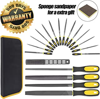 18Pcs Hand Tool File Set - High Carbon Steel Files Set with Flat, Triangular, Round Rasp, Half Round Flat & Needle Files W/Soft Rubber Handles For Woodwork, Metal, Model & Hobby Applications