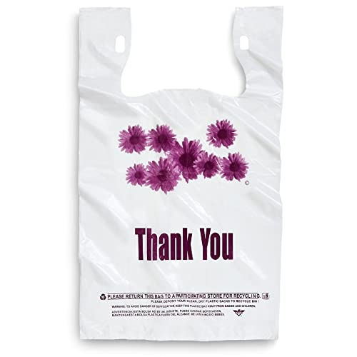 """/"""" Thank You /"""" T-Shirt Bags  Small  White  Plastic  Shopping bags"""