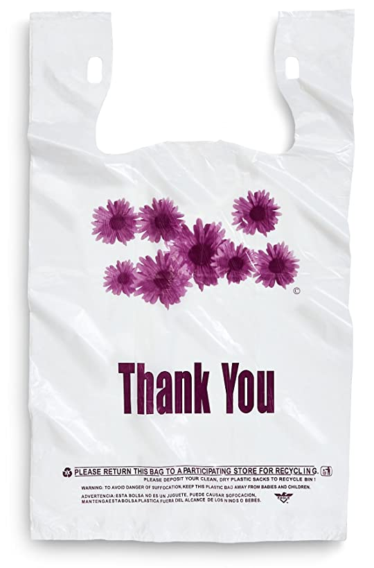 Purple Flower Thank You Plastic Shopping Bags - 500 pcs/case