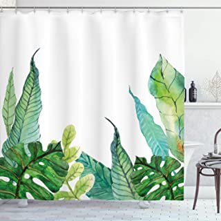 Ambesonne Leaf Shower Curtain by, Watercolor Hand Drawn Style Print Panda Banana Fragipani Tropical Trees Exotic Leaves, Fabric Bathroom Decor Set with Hooks, 75 Inches Long, Green White
