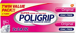 Best Super Poligrip Original Formula Zinc Free Denture and Partials Adhesive Cream, 2.4-ounce Twin pack (4.8-ounce total) Review