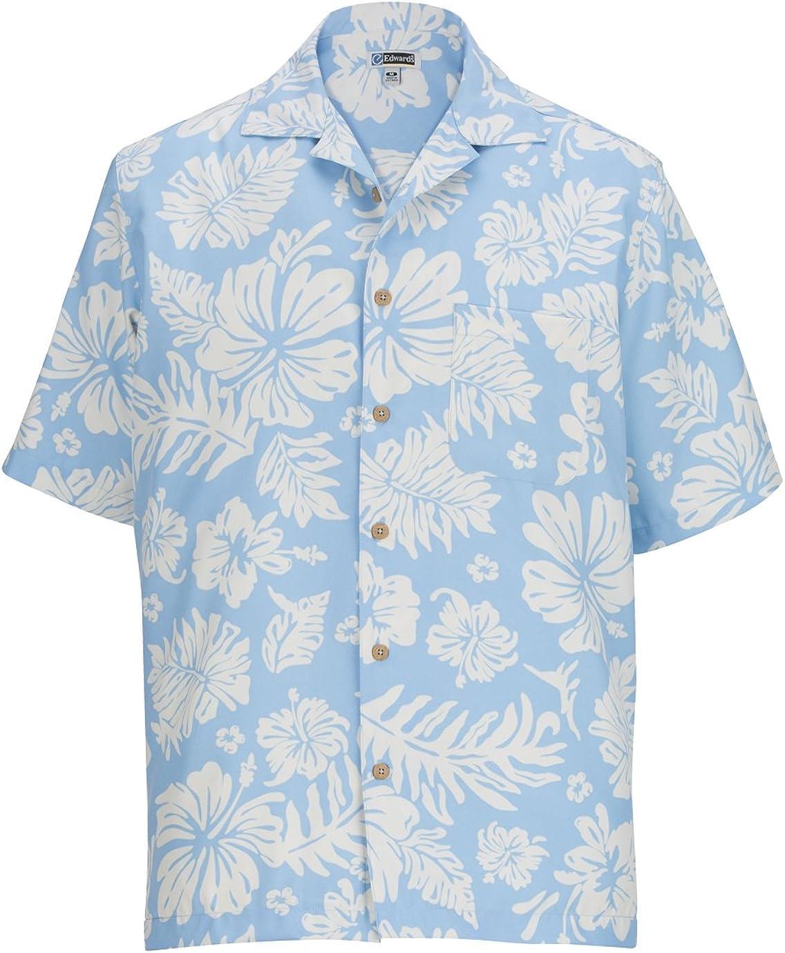 Ed Garments Men's Classic Camp Pocket Shirt,Blue, XXXXX-Large