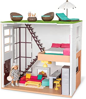 Lori LO37071Z House & Accessories for Mini Trendy Playset with Doll & 3 Furniture Kits – Living Room, Kitchen, Bedroom, Ou...