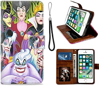 DISNEY COLLECTION Characters Disney Villains Ladies Wallet Case for iPhone 7, iPhone 8, iPhone 7/8 PU Leather with Wrist Strap Kickstand Card Holder Cover Flip Magnetic Closure Shell