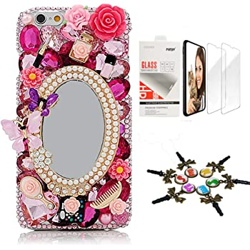 STENES Bling Case Compatible with iPhone 7 Plus/iPhone 8 Plus - Stylish - 3D Handmade [Sparkle Series] Girls Mirror Butterfly Cosmetics Flowers Design Cover with Screen Protector [2 Pack] - Red