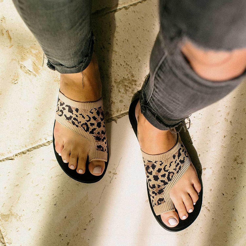 Hemlock Women Leopard Print Shoes Ring Toe Flat Sandals Slip On Summer Shoes Outdoor Casual Slides