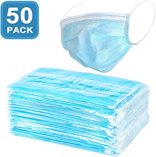 Filter Mask - 50 Count 3-Ply Disposable Face Mask FDA Approved Earloop Dust Mask for Doctor Cleaner (50PACK)