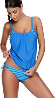 Women's Two Piece Stripe Tankini Swimsuit with Panty Sporty Double Up Bathing Suit Lined Up Swimwear for Teen