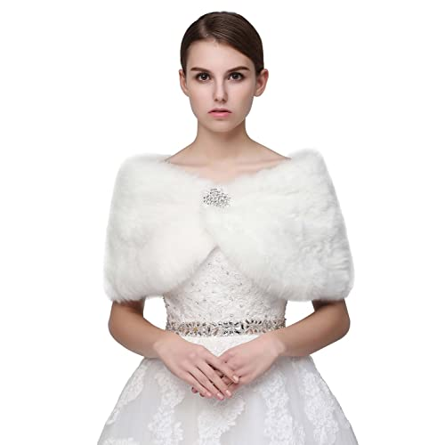 12c6c01e9cf Sarahbridal Women s Faux Fur Shrug Shawl Wedding Tippet Bridal Cape Evening  Wrap Bolero Stole Jacket Coats