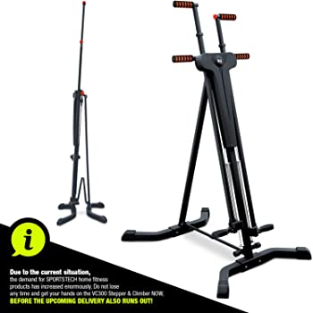 Sportstech innovative 2-in-1 Stepper & Vertical Climber. Fitness - climbing - climbing motions, foldable, multifunctional VC300 anti-slip design - ideal for high-intensity interval training (HIIT)