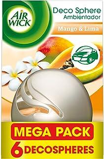 Air Wick Decosphere - Ambientador decorativo, esencia para casa y coche con aroma a Mango y lima - pack de 6