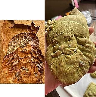 Kakform skärare trä kakform, kakform prägling form, trä tomte huvud kakform, roliga kakformar för bakning, 3D kakformar fö...