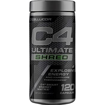 C4 Ultimate Shred Pre Workout Capsules   Weight Loss Supplement for Men & Women with Ginger Root Extract  120 Capsules