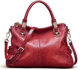 AINIMOER Womens Genuine Leather Vintage Tote Shoulder Bag Top-handle Crossbody Handbags Large Capacity Ladies' Purse (Wine)