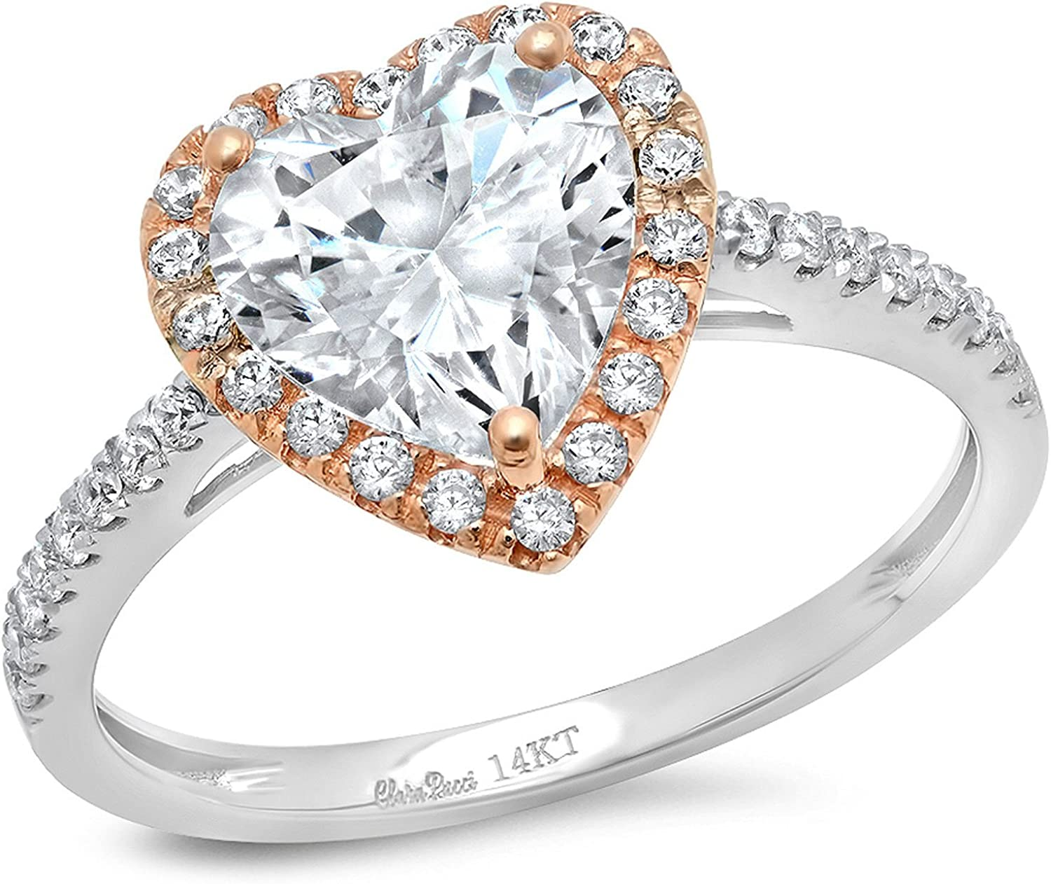 2.36 ct Brilliant Heart Cut Solitaire with Accent Halo Stunning Genuine Moissanite Ideal VVS1 D & Simulated Diamond Engagement Promise Statement Anniversary Bridal Wedding Ring Solid 14k 2 Tone Gold