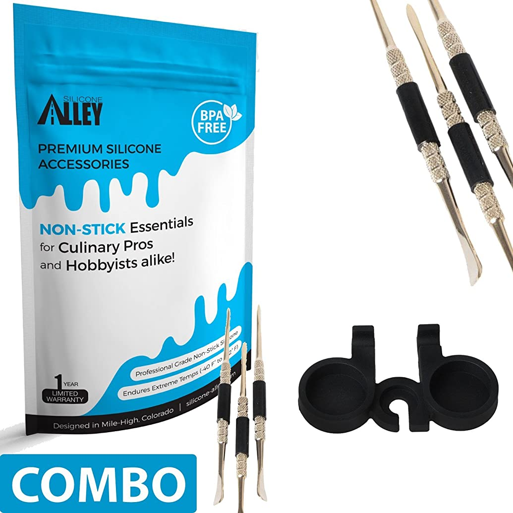 SILICONE ALLEY Wax Carving Tools [Set of 3] for Carving/molding/Dabbing Clay + Holder (1) (Non Stick Jars Sold Separately - Type Above nonstick Container