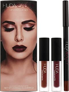 Huda Beauty Lip Contour Set + 2 Mini Liquid Mattes ~ Vixen & Famous