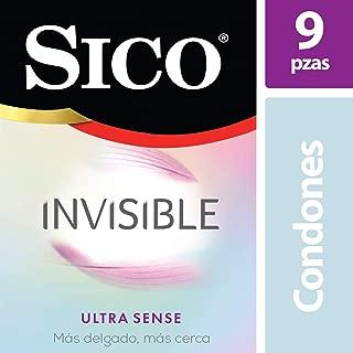 Condones de Látex, Sico Invisible Ultra Sense, Cartera con 9 Piezas