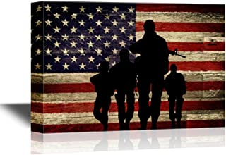 wall26 Military Family Canvas Wall Art - Silhouette of Troops on American Flag Background - Gallery Wrap Modern Home Decor | Ready to Hang - 32x48 inches