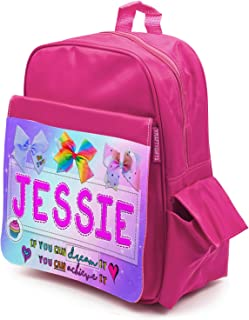 Personalised Girls Backpack KITTEN CAT UNICORN Shiny Silver School Bag KS110
