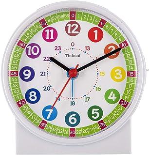 Tinload Analog Alarm Clock for Kids, Telling Time Teaching Design, Silent Non Ticking,Gentle Wake, Increasing Beep Sounds,...