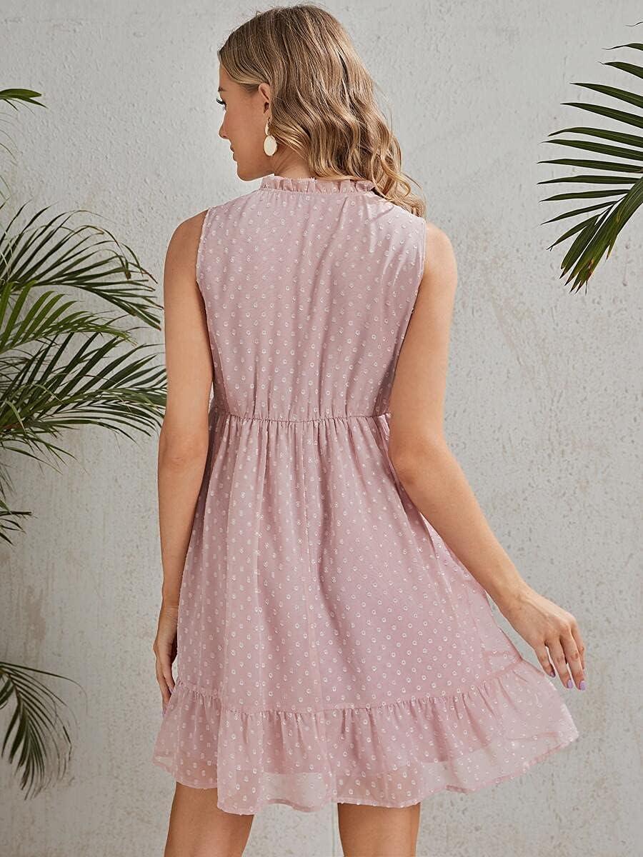 Shreem85 Maternity Dress Tie Neck Dot Swiss Hem Ruffle Gifts Max 51% OFF