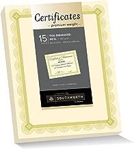 Southworth Premium Weight Certificates, Spiro Design, Gold Foil, 66 lb, Ivory, Pack of 15 (CTP2V)