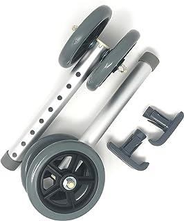 "Top Glides Heavy Duty Bariatric 5"" Walker Wheel Kit with Free Flexfit Universal Ski Glides"