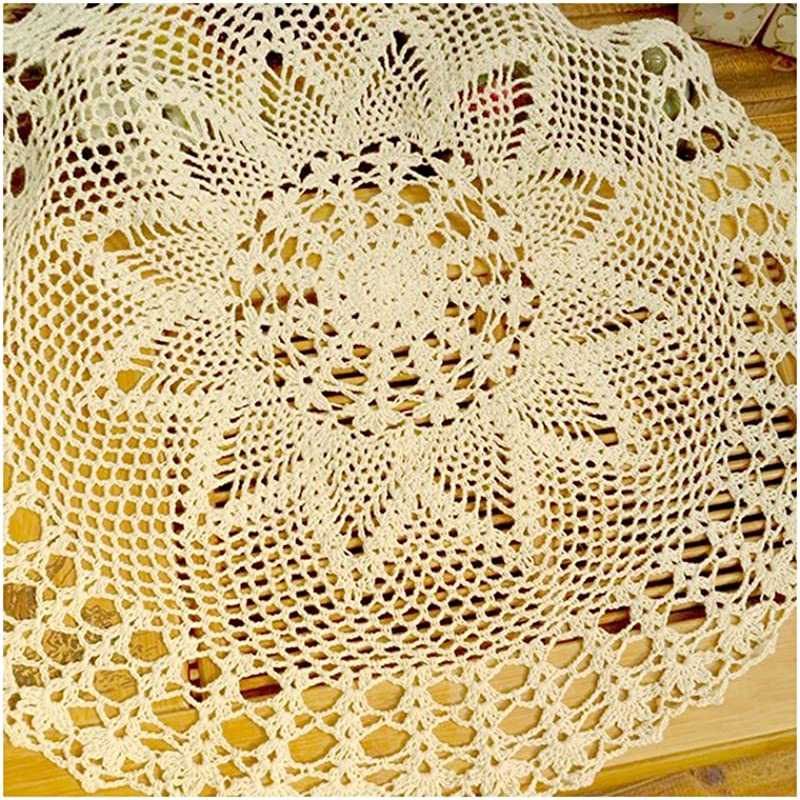 Aspire 24 Inches Pure Hand Crocheted Crochet Lace Knit Line Garden Decoration Shade Round Tablecloths A Beige