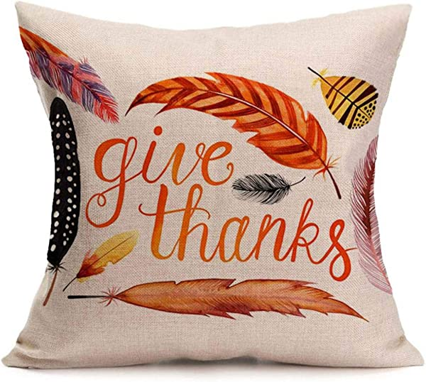 Fxbar GIVE Thanks Throw Pillow Cover Colored Feather Cushion Case Thanksgiving Day Theme Soft Pillow Shells 18x18 Inch