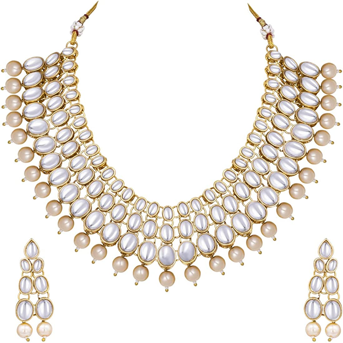 Aheli Faux Kundan Pearl Necklace with Earring Maang Tikka Indian ...
