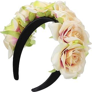 BESTOYARD ローズ 花のヘアバンド 髪飾り ヘッドドレス 綺麗 プレゼント ギフト 写真撮影(グリーン?サイド)