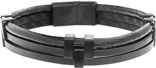 Men's Black Leather Triple Strand Bracelet with Stainless Steel Black IP Closure