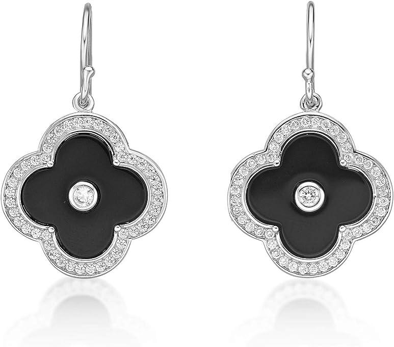 Black Onyx Flora Fishhook Earrings with Rhodium Plating - Sterling Silver
