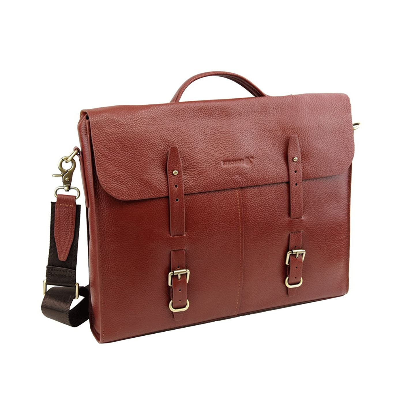 Strongrr 15-in Single Piece Maroon Professor Briefcase, Faux Leather, Hardwood Construction, Solid Pattern, Locking, lightweight, Comfortable Grip Handle, Briefcases, Leather Briefcase