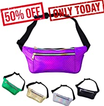iAbler Holographic Fanny Pack for Women and Men Metallic 80s Mermaid Fanny Packs with Adjustable Belt Fashion Waist Bum Bag for Party, Festival, Rave, Hiking, Trip
