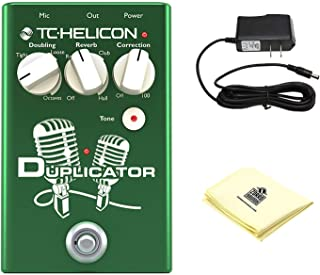 TC Helicon 996372001 DUPLICATOR Vocal Stompbox Guitar Effects Pedal with Mic Preamp, Doubling, Reverb, and Pitch Correction Bundle with Zorro Sounds Guitar Pedal Polishing Cloth and Power Supply