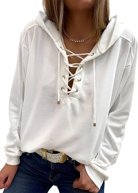 Dokotoo Womens Fall Lace Up Criss Cross V Neck Drawstring Hoodies Plain Sweatshirt Basic Pullover Tops