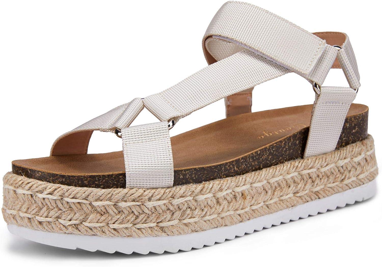 LAICIGO Espadrilles for Women Courier shipping free Platform Open Limited time sale Wedge Toe T- Sandals