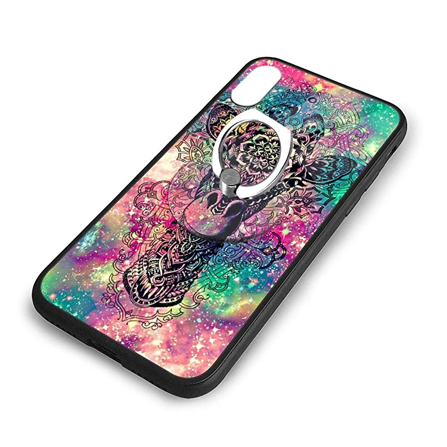iPhone X Plus Cover Colorful Giraffe Case with Finger Ring Stand XS Phone Kickstand Holder Shock Protective Basic Protector