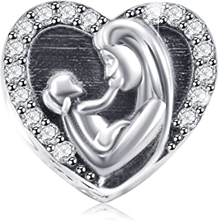 Family Charms Fit Pandora Bracelets,925 Sterling Silver Beads for Necklace and European Snake Chain, Mom/Sister/Nana/Friend/Husband/Sweet Home Charms - Happy Family. More Style Choices