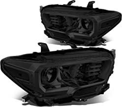 Pair Smoked Housing Clear Corner Projector Headlight/Lamps for 16-18 Toyota Tacoma
