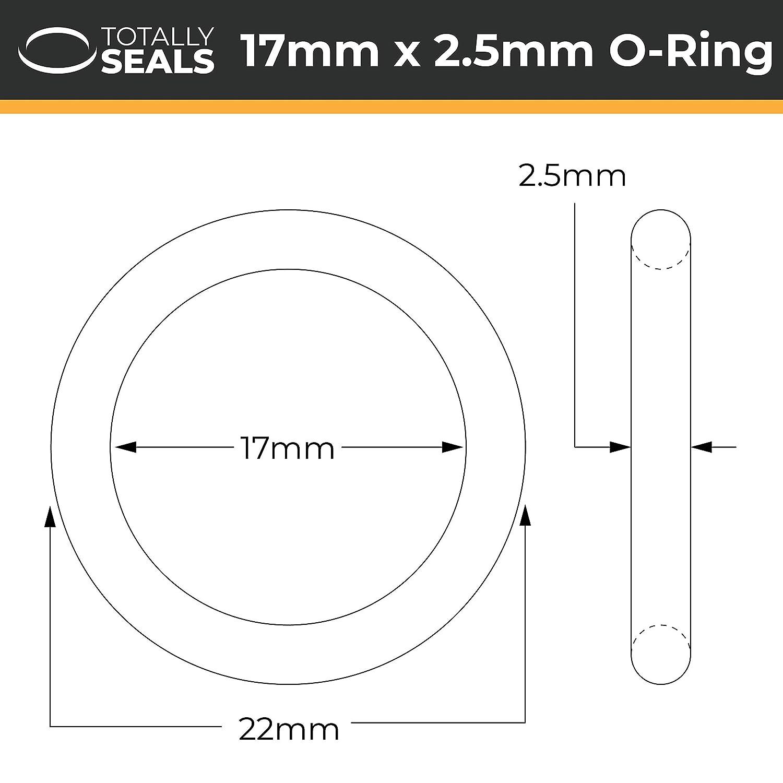 Totally Seals/® 17 mm x 2,5 mm dureza de 75 A Viton/™ Green FKM 22 mm OD juntas t/óricas m/étricas paquete de 10
