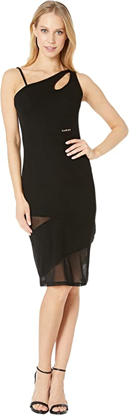 One Shoulder Keyhole Mesh Mixed Dress