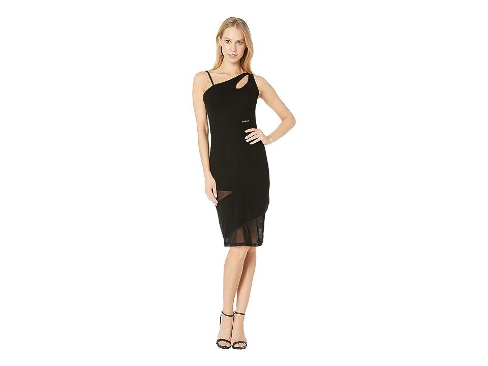 Bebe One Shoulder Keyhole Mesh Mixed Dress (Black) Women
