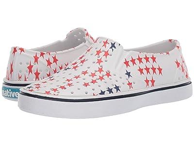 Native Kids Shoes Miles Print (Little Kid/Big Kid) (Shell White/Shell White/Little Star) Kids Shoes