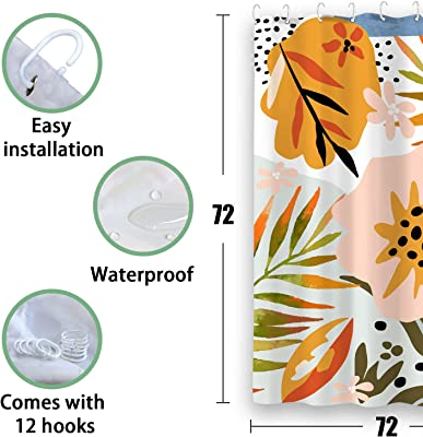 Zussun Graphic Shower Curtain Set Bathroom Fabric Fall Art Shower Curtains Waterproof Home Decor Bathroom Accessory Sets with 72inx72in Standard Size