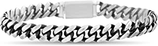 Oxidized Stainless Steel Curb Chain Bracelet for Men